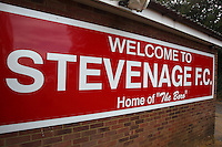 Welcome to Stevenage FC sign during Stevenage vs Exeter City, Sky Bet EFL League 2 Football at the Lamex Stadium on 24th September 2016