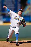 Nick Vander Tuig #21 of the UCLA Bruins pitches against the Oklahoma Sooners at Jackie Robinson Stadium on March 9, 2013 in Los Angeles, California. (Larry Goren/Four Seam Images)