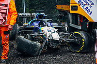 18th April 2021; Autodromo Enzo and Dino Ferrari, Imola, Italy; F1 Grand Prix of Emilia Romagna, Race Day;  63 RUSSELL George (gbr)  Williams Racing F1 FW43B after his crash with Valterri Bottas as Mercedes