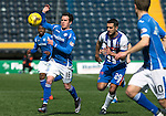 Kilmarnock v St Johnstone…09.04.16  Rugby Park, Kilmarnock<br />Danny Swanson and Gary Dicker<br />Picture by Graeme Hart.<br />Copyright Perthshire Picture Agency<br />Tel: 01738 623350  Mobile: 07990 594431