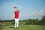 Boris Becker plays basketball at the 17th hole during the World Celebrity Pro-Am 2016 Mission Hills China Golf Tournament on 22 October 2016, in Haikou, China. Photo by Weixiang Lim / Power Sport Images