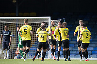 Harrogate celebrate the third goal scored by Aaron Martin, Harrogate Town, during Southend United vs Harrogate Town, Sky Bet EFL League 2 Football at Roots Hall on 12th September 2020