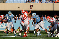 CHAPEL HILL, NC - SEPTEMBER 28: Trevor Lawrence #16 throws a pass during a game between Clemson University and University of North Carolina at Kenan Memorial Stadium on September 28, 2019 in Chapel Hill, North Carolina.