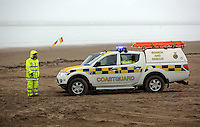 Pictured: Coastguard at Cefn Sidan beach, near Pembrey west Wales, UK. Saturday 21 May 2016<br />