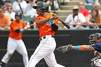 Bowie Baysox second baseman Jonathan Schoop #46 bats during a game against the New Hampshire Fisher Cats at Prince George's Stadium on June 17, 2012 in Bowie, Maryland. New Hampshire defeated Bowie 4-3 in 13 innings. (Brace Hemmelgarn/Four Seam Images)