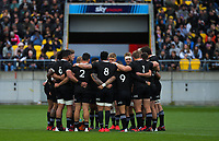 The All Blacks huddle during the Bledisloe Cup rugby union match between the New Zealand All Blacks and Australia Wallabies at Sky Stadium in Wellington, New Zealand on Sunday, 11 October 2020. Photo: Dave Lintott / lintottphoto.co.nz