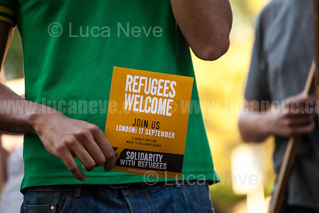 """London, 07/09/2016. Today, """"Stand Up To Racism"""" held an emergency demo outside the French Embassy in London to protest against the plan of the French Government to destroy the Calais 'Jungle' camp and to call for an immediate stop to the construction of a UK-funded wall (""""The government refused to confirm the cost of the wall, but reports suggest a £1.9m price tag"""" - Source: BBC online) near the camp which is planned to be 4m (13ft) high and it will run for 1km (0.6 miles) along both sides of the main road to Calais port. From the organiser Facebook event page:  <<The 'jungle' refugee camp faces destruction by the French government following the visit of Minister of Interior Bernard Cazeneuve and now a blockade starting on Monday by local businesses, truckers and dockers. The refugees have been attacked by the French and British governments and a hostile press. Rather than taking on their responsibilities to those escaping war and poverty both governments are scapegoating them. We want to show our solidarity with the refugees, oppose the destruction of the camp and demand that the UK government acts on the Dubs amendment to the Immigration Bill (allowing unaccompanied child refugees into Britain) now as a first step to offering the support and solidarity that is needed […]>>.<br /> <br /> For more information please click here: https://www.facebook.com/events/709215812549923/"""