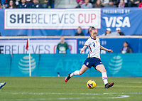 HARRISON, NJ - MARCH 08: Becky Sauerbrunn #4 of the United States passes the ball during a game between Spain and USWNT at Red Bull Arena on March 08, 2020 in Harrison, New Jersey.