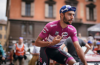 'Maglia Ciclamino' & tripple stage winner so far Fernando Gaviria (COL/Quick-Step Floors) on his way to sign-in<br /> <br /> 100th Giro d'Italia 2017<br /> Stage 13: Reggio Emilia › Tortona (167km)