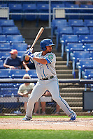 Hartford Yard Goats catcher Jan Vazquez (6) at bat during a game against the Binghamton Rumble Ponies on July 9, 2017 at NYSEG Stadium in Binghamton, New York.  Hartford defeated Binghamton 7-3.  (Mike Janes/Four Seam Images)