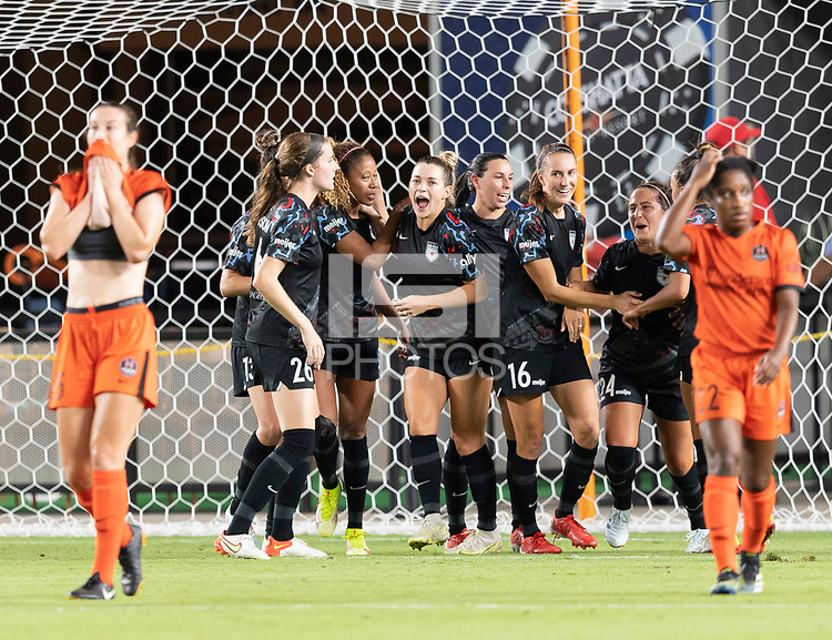 Casey Krueger #6 of the Chicago Red Stars celebrates her goal in the second half with Tierna Davidson #26, Kealia Watt #2, Sarah Woldmoe #16, and Danielle Colaprico #24 during a game between Chicago Red Stars and Houston Dash at BBVA Stadium on September 10, 2021 in Houston, Texas.