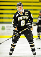 2 January 2011: Army Black Knight forward Cody Omilusik, a Senior from Traverse City, MI, warms up prior to facing the Ohio State University Buckeyes at Gutterson Fieldhouse in Burlington, Vermont. The Buckeyes defeated the Black Knights 5-3 to win the 2010-2011 Catamount Cup. Mandatory Credit: Ed Wolfstein Photo