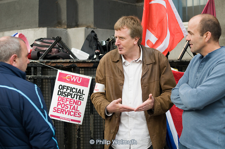Picket outside Royal Mail's Mount Pleasant sorting office, central London, on the first day of a two day national strike by CWU members over wages, conditions and pensions.
