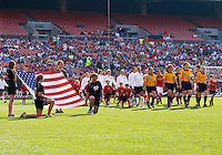22 MAY 2010:  The USA WNT enters the stadium before the International Friendly soccer match between Germany WNT vs USA WNT at Cleveland Browns Stadium in Cleveland, Ohio on May 22, 2010.