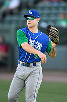 Outfielder Kyle Isbel (6) of the Lexington Legends warms up before a game against the Greenville Drive on Saturday, September 1, 2018, at Fluor Field at the West End in Greenville, South Carolina. Greenville won, 9-6. (Tom Priddy/Four Seam Images)