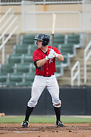 Casey Schroeder (17) of the Kannapolis Intimidators at bat against the Greensboro Grasshoppers at Kannapolis Intimidators Stadium on August 13, 2017 in Kannapolis, North Carolina.  The Grasshoppers defeated the Intimidators 4-1 in 10 innings in the completion of a game suspended on August 12, 2017.  (Brian Westerholt/Four Seam Images)