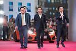 Jia Shengting, Alan Mak, and Cheng Denwei walk the Red Carpet event at the World Celebrity Pro-Am 2016 Mission Hills China Golf Tournament on 20 October 2016, in Haikou, China. Photo by Victor Fraile / Power Sport Images