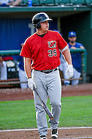 Corey Zangari (35) of the Great Falls Voyagers at bat against the Ogden Raptors in Pioneer League action at Lindquist Field on August 17, 2016 in Ogden, Utah. Ogden defeated Great Falls 5-2. (Stephen Smith/Four Seam Images)
