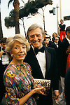 Kirk Douglas, American actor and his wife. Anne Buydens, at the Cannes Film Festival France 1980..