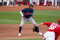 Houston Astros Jeremy Peña (89) leads off first base during a Major League Spring Training game against the St. Louis Cardinals on March 20, 2021 at Roger Dean Stadium in Jupiter, Florida.  (Mike Janes/Four Seam Images)