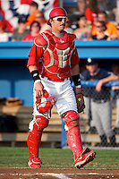 Batavia Muckdogs catcher Jonathan Keener #7 during a game against the Connecticut Tigers at Dwyer Stadium on July 4, 2012 in Batavia, New York.  Batavia defeated Connecticut 8-2.  (Mike Janes/Four Seam Images)