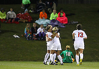 BOYDS, MARYLAND - April 06, 2013:  Fans and Chantel Jones (18) of The Washington Spirit are dejected after the third goal of the University of Virginia women's soccer team in a NWSL (National Women's Soccer League) pre season exhibition game at Maryland Soccerplex in Boyds, Maryland on April 06. Virginia won 6-3.