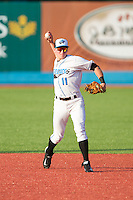 Hudson Valley Renegades shortstop Alec Sole (11) makes a throw to first base against the Brooklyn Cyclones at Dutchess Stadium on June 18, 2014 in Wappingers Falls, New York.  The Cyclones defeated the Renegades 4-3 in 10 innings.  (Brian Westerholt/Four Seam Images)