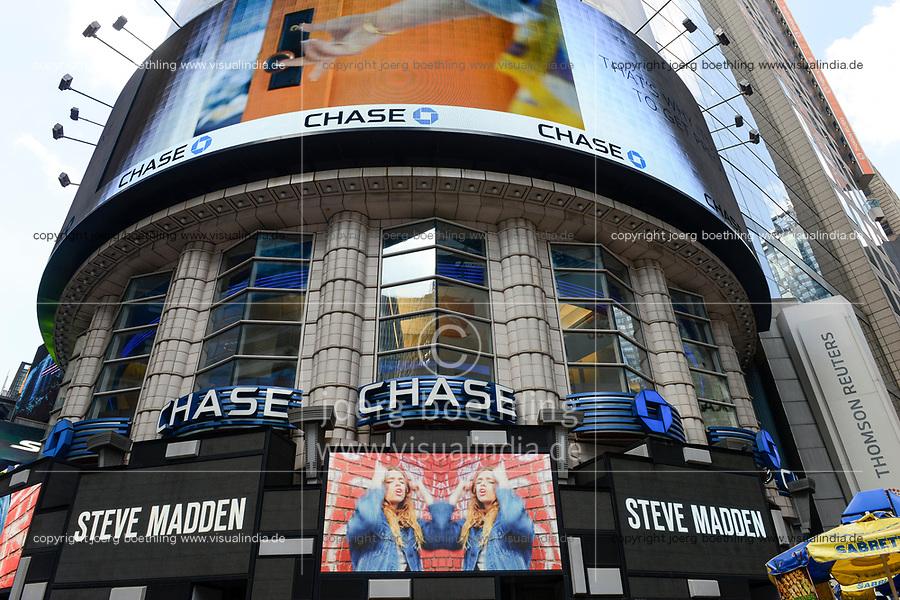 USA, New York City, Manhattan, Time square at crossing Broadway , bank JP Morgan chase