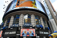 USA, New York City, Manhattan, Time square at crossing Broadway , bank JP Morgan chase