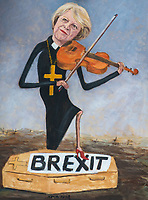 Political satire artist Kaya Mar artwork of Prime Minister Theresa May playing the violin with one foot on a coffin titled Brexit  - BREXIT scenes in Westminster Houses of Parliament and surrounding area, London, England on 16 January 2019. Photo by Andy Rowland.