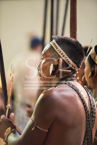 A Matis indigenous contestant from Brazil relaxes between events during the International Indigenous Games, in the city of Palmas, Tocantins State, Brazil. Photo © Sue Cunningham, pictures@scphotographic.com 27th October 2015
