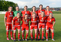 20160520 - TUBIZE , BELGIUM : Standard's team pictured with Maud Coutereels , Lisa Lichtfus , Aline Zeler , Sanne Schoenmaker , Cecile De Gernier , Julie Biesmans ,  Elien Nelissen , Davinia Vanmechelen , Charlotte Tison , Sarah Wijnants and Julie Gregoire during a soccer match between the women teams of RSC Anderlecht and Standard Femina de Liege , during the sixth and last matchday in the SUPERLEAGUE Playoff 1 , Friday 20 May 2016 . PHOTO SPORTPIX.BE / DAVID CATRY