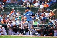 Tampa Bay Rays center fielder Kevin Kiermaier (39) follows through on a swing during a Grapefruit League Spring Training game against the Baltimore Orioles on March 1, 2019 at Ed Smith Stadium in Sarasota, Florida.  Rays defeated the Orioles 10-5.  (Mike Janes/Four Seam Images)
