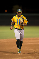 AZL Athletics shortstop Cobie Vance (16) jogs off the field between innings of an Arizona League game against the AZL Athletics at Camelback Ranch on July 15, 2018 in Glendale, Arizona. The AZL White Sox defeated the AZL Athletics 2-1. (Zachary Lucy/Four Seam Images)
