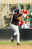 Cleuluis Rondon (13) of the Kannapolis Intimidators at bat against the Rome Braves at CMC-Northeast Stadium on August 25, 2013 in Kannapolis, North Carolina.  The Intimidators defeated the Braves 9-0.  (Brian Westerholt/Four Seam Images)