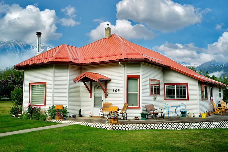 House with Wallowa Mountains. Joseph, Oregon