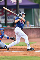 Elizabethton Twins designated hitter Colton Burns (23) swings at a pitch during a game against the Kingsport Mets at Joe O'Brien Field on August 7, 2018 in Elizabethton, Tennessee. The Twins defeated the Mets 16-10. (Tony Farlow/Four Seam Images)
