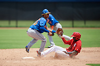 GCL Mets shortstop Sebastian Espino (60) covers second base as Caldioli Sanfler (9) slides in on a stolen base attempt during a game against the GCL Nationals on August 4, 2018 at FITTEAM Ballpark of the Palm Beaches in West Palm Beach, Florida.  GCL Nationals defeated GCL Mets 7-4.  (Mike Janes/Four Seam Images)