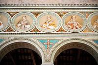 Aisle mosaics of the 6th century AD Byzantine Roman Mosaics of the Basilica of Sant'Apollinare in Classe, Ravenna Italy