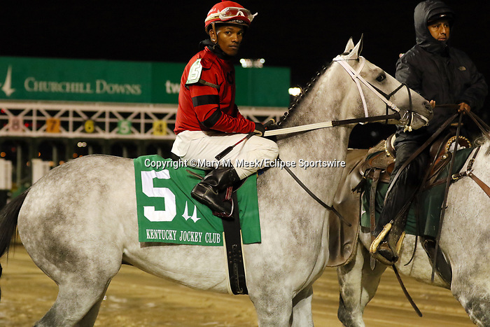 November 29, 2019 : Silver Prospector (#5, Ricardo Santana Jr., jockey, shown here in post parade) wins the93rd running of the G2 Kentucky Jockey Club Stakes at Churchill Downs, Louisville, Kentucky. Trainer Steven M. Asmussen, owner Ed and Susie Orr. By Declaration of War x Tap Softly (Tapit). Mary M. Meek/ESW/CSM