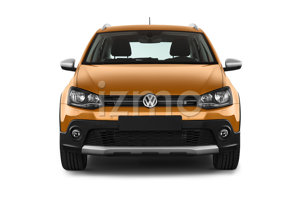 Car photography straight front view of a 2015 Volkswagen Polo Cross 5 Door Hatchback 2WD Front View