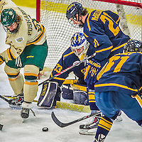 29 December 2013:  University of Vermont Catamount Forward Mario Puskarich, a Freshman from Fort Walton Beach, FL, works in front of the crease during third period action against the Canisius College Golden Griffins at Gutterson Fieldhouse in Burlington, Vermont. The Catamounts defeated the Golden Griffins 6-2 to capture the 2013 Sheraton/TD Bank Catamount Cup NCAA Hockey Tournament for the second straight year. Mandatory Credit: Ed Wolfstein Photo *** RAW (NEF) Image File Available ***