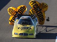 Feb. 22, 2013; Chandler, AZ, USA; NHRA funny car driver Jeff Arend during qualifying for the Arizona Nationals at Firebird International Raceway. Mandatory Credit: Mark J. Rebilas-