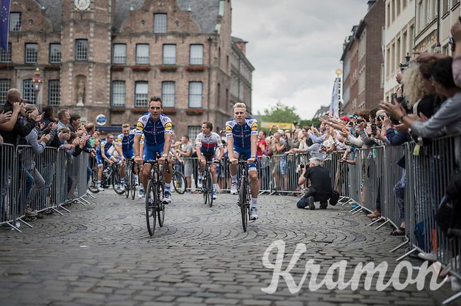 "Philippe Gilbert (BEL/Quick Step floors) & Julien Vermote (BEL/Quick-Step Floors)<br /> <br /> ""Le Grand Départ"" <br /> 104th Tour de France 2017 <br /> Team Presentation in Düsseldorf/Germany"