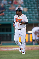 Fresno Grizzlies manager Rodney Linares (33) coaches third base during a Pacific Coast League game against the Salt Lake Bees at Chukchansi Park on May 14, 2018 in Fresno, California. Fresno defeated Salt Lake 4-3. (Zachary Lucy/Four Seam Images)