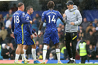 Chelsea Manager, Thomas Tuchel, shakes hands with Trevoh Chalobah at the final whistle during Chelsea vs Southampton, Premier League Football at Stamford Bridge on 2nd October 2021