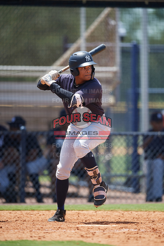 GCL Yankees East third baseman Starlin Paulino (6) at bat during a game against the GCL Yankees West on August 8, 2018 at Yankee Complex in Tampa, Florida.  GCL Yankees West defeated GCL Yankees East 8-4.  (Mike Janes/Four Seam Images)