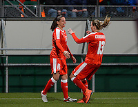20160302 – DEN HAAG ,  NEDERLAND : Swiss Fabienne Humm (left) and Ana Maria Crnogorcevic (r) pictured celebrating the quick 1-0 during the Olympic Qualification Tournament  soccer game between the women teams of Switzerland and The Netherlands, The first game for both teams in the Olympic Qualification Tournament for the Olympic games in Rio de Janeiro - Brasil, Wednesday 2 March 2016 at Kyocera Stadium in The Hague , Netherlands  PHOTO DAVID CATRY