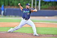 Asheville Tourists pitcher Angel Macuare (27) delivers a pitch during a game against the Aberdeen IronBirds on June 17, 2021 at McCormick Field in Asheville, NC. (Tony Farlow/Four Seam Images)