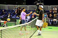 09-02-13, Tennis, Rotterdam, qualification ABNAMROWTT, Fabian van der Lans(L)  shakes hands with Rajeev Ram